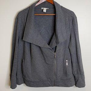 Style & Co charcoal jersey knit moto jacket 1X